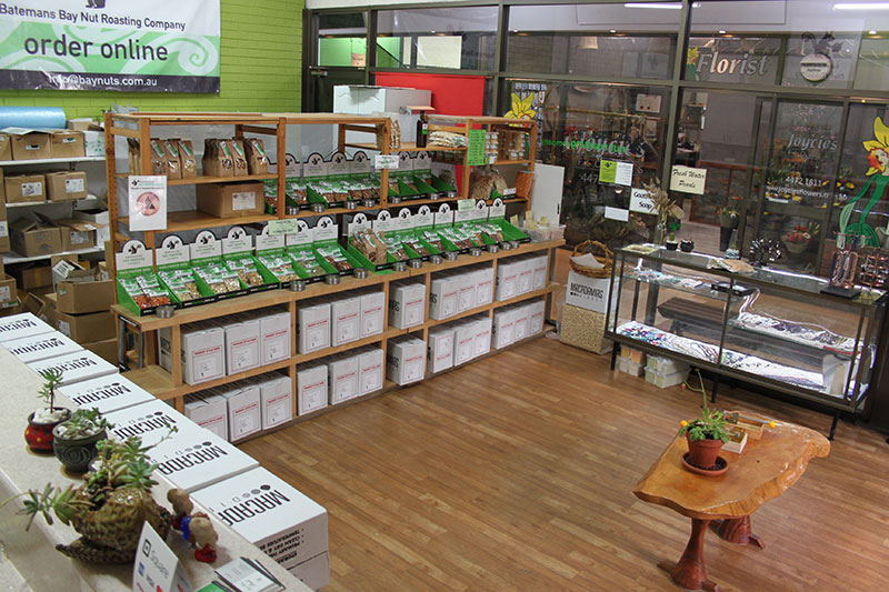 Our Roasted Nuts Range Display at our Batemans Bay Baynuts Store